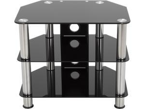 """AVF SDC600CM-A up to 32"""" Chrome Effect / Black Glass Classic - Corner Glass TV Stand with Cable Mangement"""