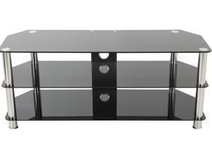 """AVF SDC1250CM-A up to 60"""" Chrome Effect / Black Glass Classic - Corner Glass TV Stand with Cable Mangement"""