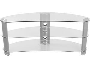 "AVF FS1200CURCS-A up to 60"" Silver Effect / Clear Glass Curved TV Stand"