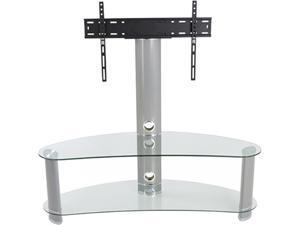 "AVF FSL1200CURCS-A 32 - 65"" Silver Effect / Clear Glass Curved Pedestal TV Stand"