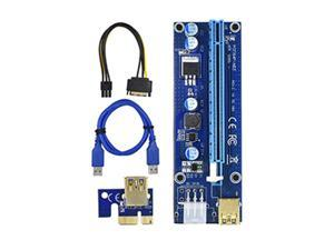 PCI-E Riser for Bitcoin/Litecoin/ETH coin, GPU Extension Cable, PCle VER 009S 16X to 1X (6PIN/MOLEX/SATA) Mining Powered Riser Adapter Card with 23.6 inches USB 3.0 Cable  - 1 Pack