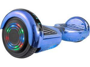 AOB Blue Chrome Hoverboard with Bluetooth Speakers
