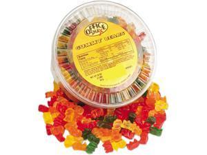 Office Snax Gummy Bears, Assorted Flavors, 2 lb/Tub