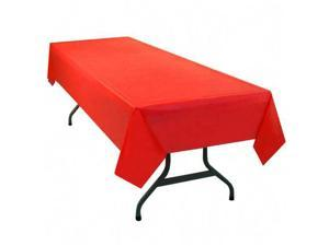 Table Set Rectangular Table Cover, Heavyweight Plastic, 54 x 108, Red, 6/Pack