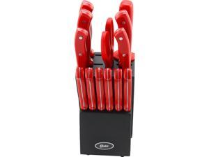 Oster 81011.14 Evansville 14 Piece Stainless Steel Cutlery Brown Set, Red Handles