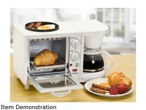 Elite Cuisine EBK-200 3 in 1 Breakfast Center - Coffee, Toaster Oven, Griddle, White