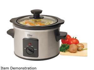 Elite MST-250XS Stainless Steel 1.5 Qt. Mini Slow Cooker