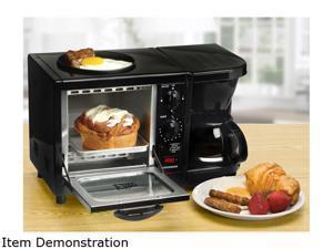 Elite Cuisine EBK-200B 3 in 1 Breakfast Center - Coffee, Toaster Oven, Griddle, Black