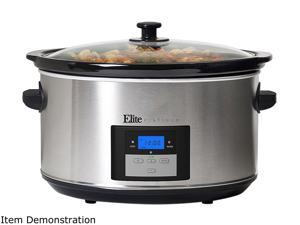 Elite Platinum MST-900D Maxi-Matic 8.5-Quart Digital Programmable Slow Cooker, Oval Stainless Steel with 3 Temperature Settings and Timer