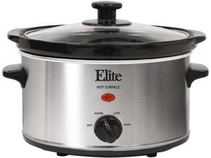 Elite Gourmet MST-275XS 2 Qt Oval Stainless Steel Slow Cooker