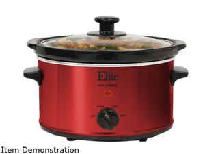 Elite Gourmet MST-275XR 2 Qt. Slow Cooker, Red