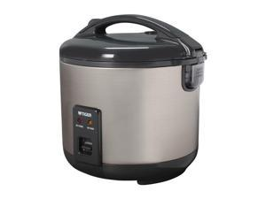 Tiger JNP-S18U Rice Cooker and Warmer, Stainless Steel Gray, 20 Cups Cooked/ 10 Cups Uncooked