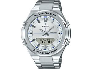 Casio AMW860D-7AV Ana Digi Stainless Steel Watch, White Dial