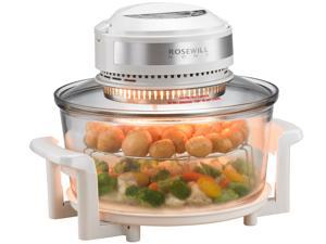 Rosewill RHCO-16001 18Qt Infrared Halogen Stainless Steel Convection Oven | Extender Ring and Accessories Included | Built-in Timer | White