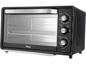 Rosewill RHTO-19001 19L 6-Slice Toaster Oven with Timer & Temperature Settings | 19-Liter Large Capacity |Stainless Steel Countertop Toaster Oven with Baking Pan and Broil Rack | Black