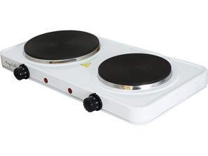 MegaChef Electric Easily Portable Ultra Lightweight Dual Burner Cooktop Buffet Range MC-2012B Sleek White
