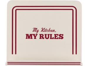 """Cake Boss  59492  Countertop Accessories Metal Cookbook Stand with """"My Kitchen, My Rules"""" Decal, Cream"""