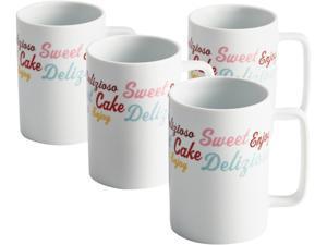 """Cake Boss  58677  Serveware 4-Piece Porcelain Mug Set, """"Icing & Quotes"""" Pattern, Print"""