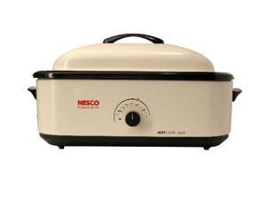 NESCO 4818-14 White 18 Qt. 18 Qt Roaster, Porcelain Cookwell