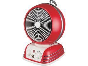 Optimus H-1418 Retro Design Oscillating Fan Heater, Red