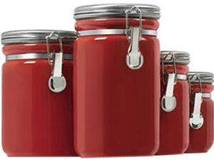 Anchor Hocking 03923RED Ceramic Canister Set