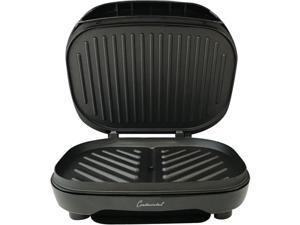 Continental Electric CE23799 Black 2-Serving Capacity Non-Stick Contact Griddle