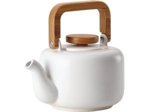 BONJOUR 47469 Matte White Ceramic Coffee and Tea 8-Cup Ceramic Teapot with Infuser, Matte White