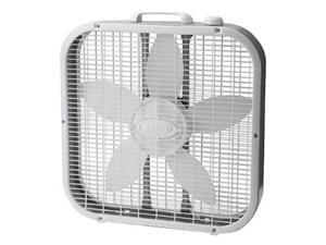 "Lasko 20"" Energy Efficient Basic Box Fan w/ 3 Speeds, White -"