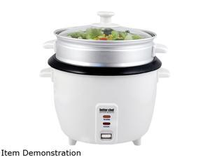 Better Chef IM-405ST White 5-Cup Rice Cooker w/ Food Steamer