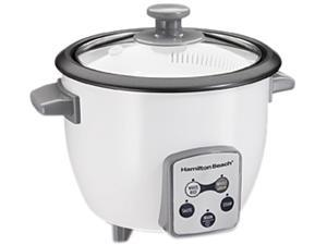 Hamilton Beach 37506 Digital 6 Cups Rice Cooker and Food Steamer, White