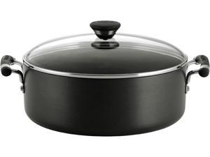 Circulon Acclaim Hard-Anodized Nonstick 7.5-Quart Covered Wide Stockpot, Black