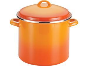 Rachael Ray  59025  Enamel on Steel 12-Quart Covered Stockpot, Orange Gradient