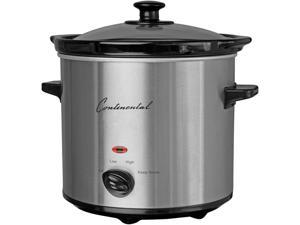 Continental Electric 2 Quart Slow Cooker, Stainless Steel CP43729
