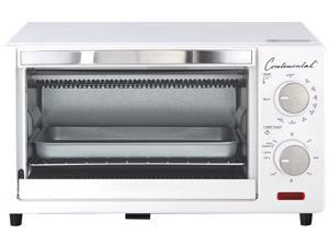 Continental Electrics 4-Slice Toaster Oven & Broiler, White CE-TO101