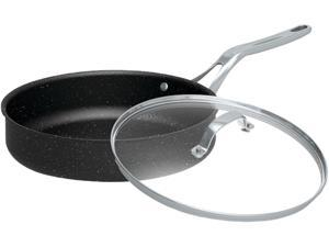"""Starfrit 060318-003-0000 The Rock 11"""" Deep Fry Pan With Glass Lid"""