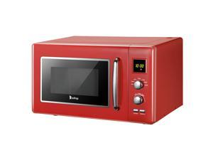 Red 23L / 0.9cuft Retro Microwave oven With Display / Silver Handle