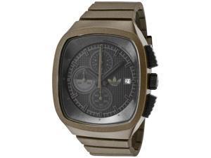 Adidas Chronograph Black Grid Textured Dial Shiny Brown Polyurethane