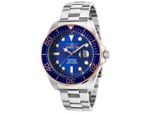 Invicta 17554 Men's Pro Diver Stainless Steel Blue Dial Blue And Rose-Tone Bezel Ss Watch