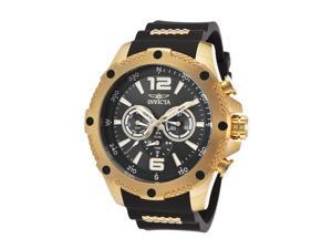 Men's I-Force Multi-Function Black Polyurethane and Dial 18K GP SS Case
