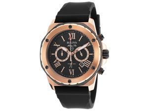Bulova Marine Star Mens Rose Gold Tone Quartz Chronograph Watch 98B104