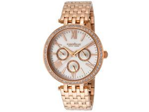 Caravelle Ny 44N101 Women's Rose Gold Tone Stainless Steel Mop Dial Watch