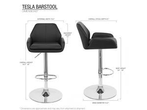 """Modern Home Tesla """"Leather"""" Contemporary Adjustable Height Counter/Bar Stool (Black Licorice)"""