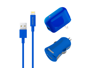 Overtime Lightning USB Charger Kit | Wall & Car Charging Set | Apple MFI Certified | Compatible With iPhone iPod & iPad | Lightning Data Cable | 2.4 AMP Output For Rapid Charging (Blue)