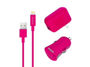 Overtime Lightning USB Charger Kit | Wall & Car Charging Set | Apple MFI Certified | Compatible With iPhone iPod & iPad | Lightning Data Cable | 2.4 AMP Output For Rapid Charging - Pink