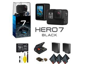 GoPro HERO7 Black Action Camera With Extra Battery, External Charger, 64GB Memory Card, Case Plus More - Extra Battery Bundle