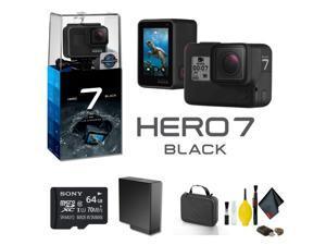 GoPro HERO7 Black Action Camera With 64GB Memory Card Case Plus More - Starter Bundle