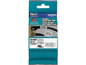 "Brother TZE-FX231 Black on White Flexible ID Tape for P-touch Label Printer, 12 mm (0.47"")  x 8 m (26.20 ft.) - 1 Each"
