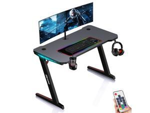 ESGAMING 1.3mm thickness Steel 47.3 Inch Gaming Desk with RGB Lights Controller with Cup Holder, Headphone Hook and Socket Rack