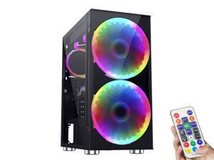 ESGAMING - Black ATX Mid-Tower Gaming Case/ Side Panel Sliding Tempered Glass/ Black Tempered Glass Front Panel with Metal Mesh / 2 x 200mm ARGB Fans & 1 x 120mm ARGB Fan with Fan Remote Controler