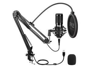 Pyle PDMIKT140 Desktop USB Podcast Microphone Kit, Black
